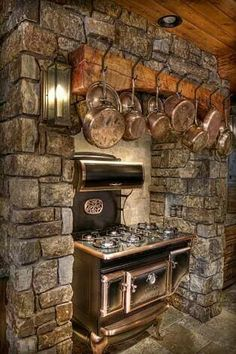 Ideas Wood Burning Stove Decor Ideas Rustic For 2019 Wood Stove Cooking, Kitchen Stove, Kitchen Worktops, Wood Burning Cook Stove, Marble Worktops, Rustic Design, Rustic Decor, Modern Design, Rustic Lake Houses