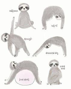 Sloth Baby Shower Gift For Her Handmade Nursery Decor Wall Art Sloths Poster Yoga Poses Studio Pants Boho Art Print Coworker Sloth Drawing, Animal Yoga, Otters Cute, Dog Seat, Baby Sloth, Animal Jam, Wall Art Decor, Nursery Decor, Art Mural