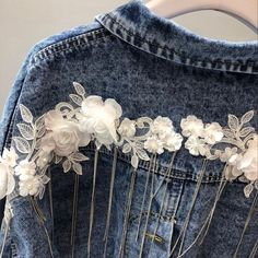 Floral Lines Denim Jacket – Slim Wallet Company Diy Clothes And Shoes, Diy Clothing, Lined Denim Jacket, Southern Outfits, Denim Crafts, Embellished Jeans, Denim And Lace, Denim Outfit, Look Cool