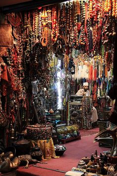 thank goodness I'll never go here because I would bring back every single strand of beads ... every one! Stallholder in Mutrah souk, Muscat, Oman