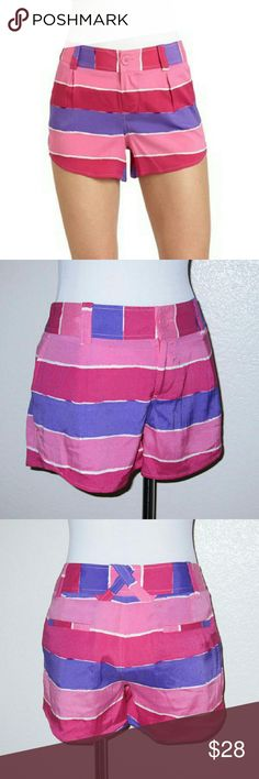 Alice + Olivia Striped Silk Butterfly Shorts Pink and purple striped, silk, butterfly style shorts with belt loops and side pockets Front zipper and button closure 95% Silk, 5% Spandex Lining: 95% Polyester, 5% Spandex Dry clean Made in China  Measurements: Waist: 29? Hips: 36? Inseam: 3? Overall Length: 11?  Condition: Shorts are clean and show minimal wear. No holes, stains, pulls, or snags. Alice + Olivia Shorts