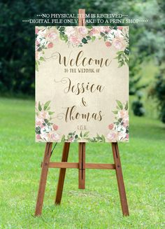 vintage rose wedding sign, welcome wedding sign, custom wedding sign, floral welcome sign, 8X10, 16x20, 18X24, 24x30, YOU PRINT, digital by OurFriendsEclectic on Etsy