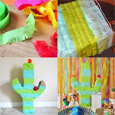 For our upcoming fiesta we made different pinatas, check out how to make our donkey pinata . For a center piece we made a cactus . Cactus Centerpiece, Wild West Party, America Birthday, Cowboy Party, Mexican Party, Make Your Own, How To Make, Le Far West, Closet Designs