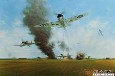 Spitfires of 65 Squadron scramble as RAF Manston comes under attack, August 12,1940. Painting by Gerald Coulson