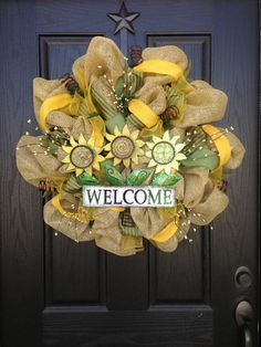 SUNFLOWER and BURLAP mesh wreath by GlitzyWreaths on Etsy, $100.00