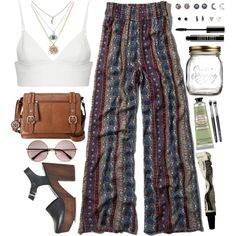 A fashion look from April 2015 featuring layering shirts, wide leg palazzo pants and kohl shoes. Browse and shop related looks. Summer Outfits, Casual Outfits, Cute Outfits, Fashion Outfits, Music Festival Fashion, Festival Style, Sophisticated Outfits, My Style, Badass Style