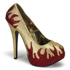 Bordello TEEZE-27 Gold Mini Glitter-Red Rstn Pumps