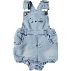 Baby Girl's Knit Denim Playsuit ❤ liked on Polyvore featuring baby, baby girl, kids and onesies