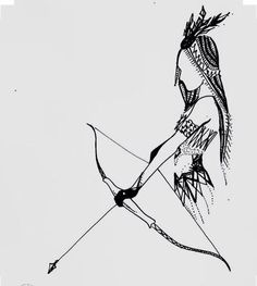 Indian Girl Bow And Arrow Drawing {ink art}