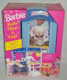 1998 Mattel Barbie Doll Bake Shop & Cafe Playset 75+pc Kitchen Food Baking Cake