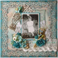Shy Girl ~ Gorgeous heritage child's page with elaborate punched and beaded borders.