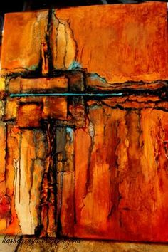 Southwestern Abstract Cross Painted Art – The Creative Studio - Malerei Abstract Landscape Painting, Landscape Art, Landscape Paintings, Abstract Art, Painting Art, Watercolor Painting, Modern Art Paintings, Portrait Paintings, Indian Paintings