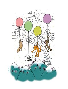Balloons Art Print by Lorène Russo Illustration | Society6
