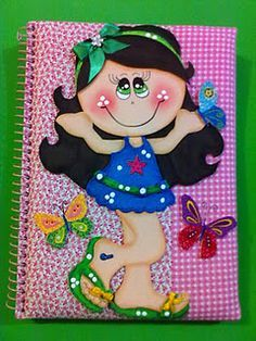 Risultati immagini per cuadernos decorados Foam Crafts, Diy And Crafts, Crafts For Kids, Arts And Crafts, Paper Crafts, Merian, Punch Art, Girl Cartoon, Box Design