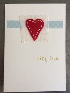 Items similar to Valentine's Card Luxury Unique Handmade - American Folk Art Style Heart Card on Etsy Handmade Christmas, Christmas Ideas, Christmas Crafts, Christmas Decorations, Xmas, Sewing Crafts, Diy Crafts, Beautiful Christmas Cards, Fabric Cards