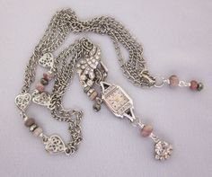 Multi Strand Upcycled Rhinestone Watch Necklace, Long Silver Chain Necklace, Pink Tourmaline, Pyrite Beads, Assemblage Jewelry Handmade