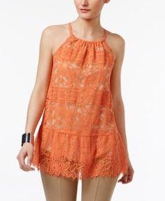 Alfani Petite Lace Peplum Halter Top, Only at Macy's - Orange 14P