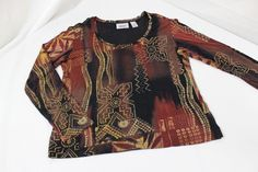 Chicos Travelers Womens Long Sleeve Shirt Size 0 Brown Patterned Slinky #Chicos #Western #Casual