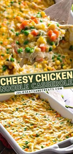 The entire family will love to dig into this easy, hearty meal! Loaded with chicken, peas, carrots, corn, and egg noodles, this cheesy casserole is sure to become one of your favorite comfort food. A delicious dinner recipe perfect for a cold winter night! Save this pin!