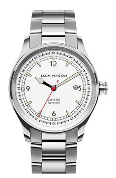 Free shipping and returns on Jack Mason Brand Nautical Bracelet Watch, 42mm at…