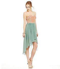 1624e4337ed Jodi Kristopher Sequin Strapless High-Low Dress Homecoming Dresses