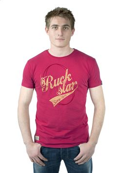 Ruckstar Gold Vintage logo on pre-washed Red Tee. 100% Cotton. Bling tastic