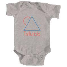 Telluride, Colorado Minimal Mountain Sun in Red/Blue - Infant Onesie/Bodysuit