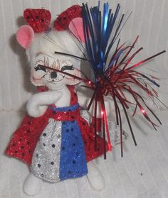 """ANNALEE DOLLS 6"""" Patriotic Girl Mouse 4th Of July Red White Blue 2006 Sparkler #Annalee #Dolls"""