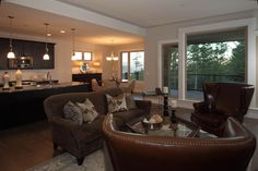 Preston Home - open main level living room and kitchen Preston, House Plans, Kitchens, Houses, How To Plan, Living Room, Interior Design, Flowers, Homes