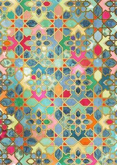 Tilework - Morocco Love the colors in this, especially the mix of blue teals and the oranges and reds.