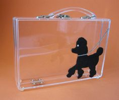1950's clear handbag with black poodle.