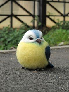 *NEEDLE FELTED ART ~ Animal toys, handmade.  Fair Masters - handmade.  Buy Titmouse.  Handmade.  Yellow, glass eyes, polymer clay