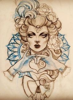 Girl tattoo design.