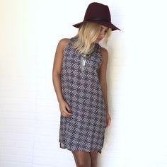 Multi Color Printed Sleeveless Shift Dress #USTrendy www.ustrendy.com