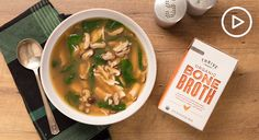 Chicken soup might be the ultimate comfort food. We steep a pot of bone broth, ginger, and mushrooms with green tea for delicious herbal flavor.