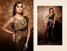 Elegant shimmer look with a heavy embroidered belt and a beautiful blouse. Bollywood Wedding, Bollywood Saree, Saree Wedding, Middle Eastern Fashion, Traditional Sarees, Fancy Sarees, Shraddha Kapoor, Beautiful Blouses, Pakistani Dresses