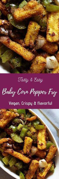 Baby corn pepper fry- an easy side dish for you that is vegan gluten free and super delicious. Pair this Asian style fry with your fried rice noodles . Best Vegetable Recipes, Veg Recipes, Indian Food Recipes, Real Food Recipes, Vegetarian Recipes, Cooking Recipes, Healthy Recipes, Healthy Snacks, Vegetarian Quotes