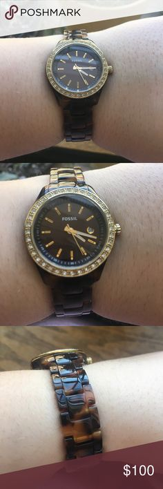 Fossil Watch Tortoise- shell band, gold tone, and sparkle around the face of the watch. Reads time and date. Needs new battery Fossil Accessories Watches