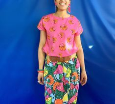 Prawn print skirt Print Skirt, Prawn, Print Patterns, Lady, Floral, Prints, How To Wear, Inspiration, Tops