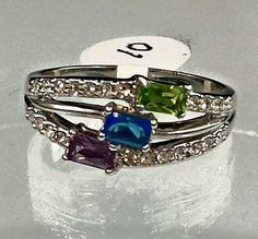 Silver Tone  Cocktail Rings C Z  Blue Purple Green Size 4,5,6,7,9,10,11,11.5 #Unbranded #Cocktail