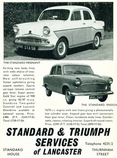 1958 advert featuring Standard Pennant and Standard Ensign