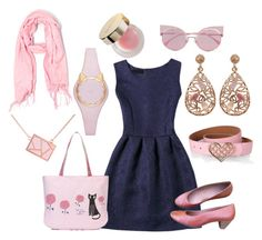 """Pinky and Purrrty"" by beavercity on Polyvore featuring Kate Spade, Ona Chan, Fendi, Clarks, Luxiro, By Terry, Pink, purr, catstyle and kittylove"