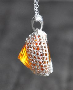 crocheted citrine with 30 gauge fine silver wire