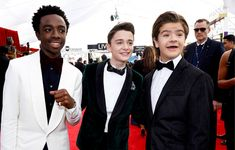 "strangerthingscast: "" Caleb McLaughlin, Noah Schnapp, and Gaten Matarazzo photographed at the Screen Actors Guild Awards, January 21, 2018. """