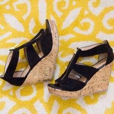 ✨Host Pick✨ Black felt straps, good zipper, cork like bottoms. Only worn 3x, great condition. 6 1/2 Shoes Espadrilles