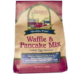 "This is the best pancake mix! Namaste Foods, wheat, soy and dairy free Waffle & Pancake Mix.  First one Ive found that tastes like ""real pancakes"" My kids are psyched. fluffy and light. Only grain is brown rice flour, otherwise tapioca flour Avail at whole foods and online."