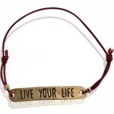 """Rode armband met tekst """"Live Your Live"""""""