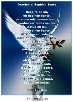 Oracio  al Espiritu Santo Catholic Prayers, Spiritual Prayers, Spanish Prayers, Christian Love, Beautiful Prayers, Father Quotes, Divine Mercy, God Prayer, Good Night Quotes