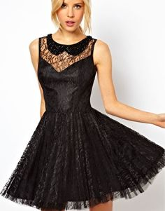 ASOS Lace Skater Dress with Pleated Skirt  - SOOO HOTT