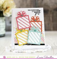 Hi there! Laurie Schmidlin here again sharing two more cards that I created using the Pretty Presents Kit! This is such a great kit that comes with everything